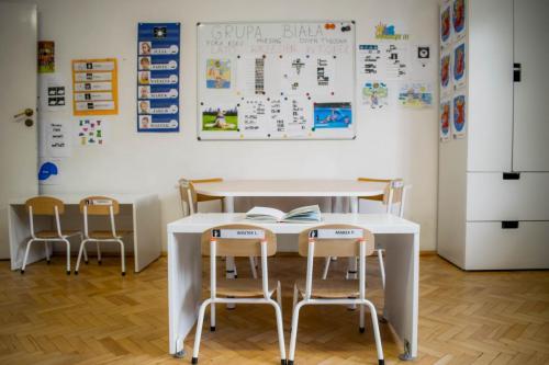 sala grupy białej-graficzne plany pracy i tablica pomocy edukacyjnych