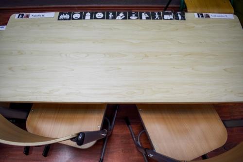 stanowisko pracy-biurko opatrzone komunikacją obrazkową AAC