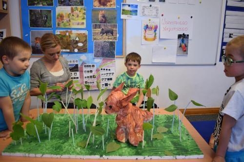 Tworzenie makiety lasu ztekturek, farb, słomek, liści irzeźby wykonanej zgipsu przezdzieci