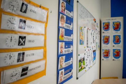 Sala grupy białej- graficzny plan dnia itablica obecności dzieci